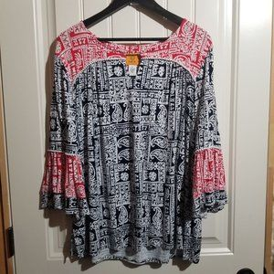 Size XL Red and Navy Blue Ruby Rd. Top